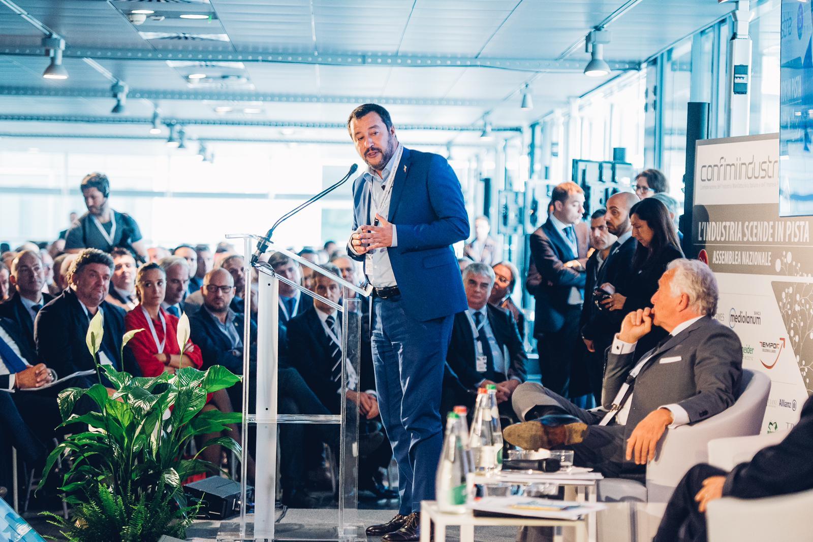 Matteo Salvini e Paolo Agnelli all'Assemblea di Confimi Industria